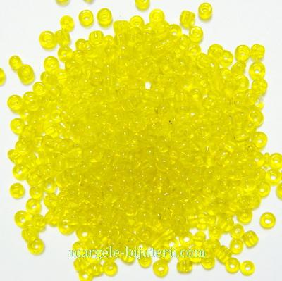 Margele nisip, galbene, transparente, 2mm 20 g