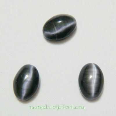Cabochon ochi de pisica, negru, 7x5x2mm 1 buc