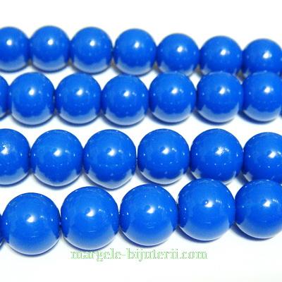 Margele sticla, albastru-cobalt, 10mm 10 buc
