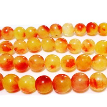 Jad translucid, fucsia-alb-portocaliu, 8mm 1 buc