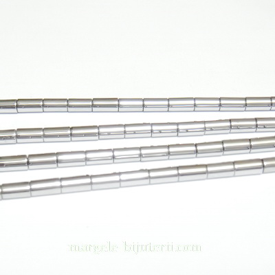 Hematite nemagnetice, tubulare, argintii, 4.3x2.3mm 1 buc