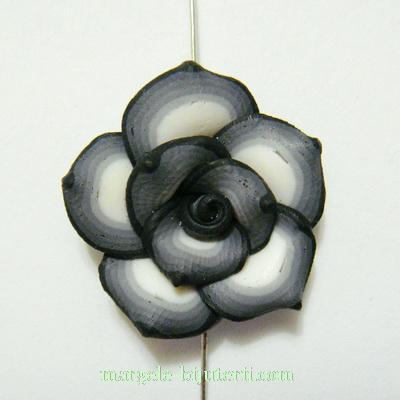 Margele polymer, floare gri cu alb, 20x20x10mm 1 buc