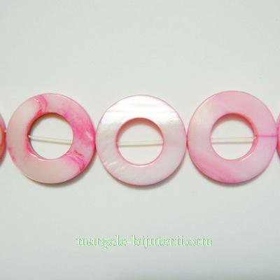 Cercuri sidef, roz, 20x3mm 1 buc