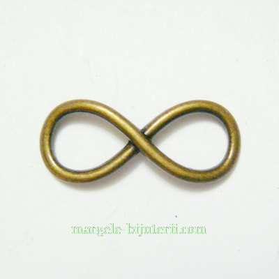 Conector/link metalic, culoare bronz,  infinit, 30x12x2mm 1 buc