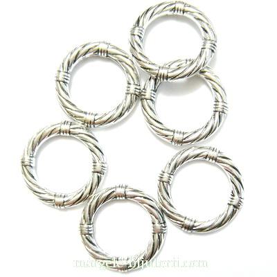 Zale decorative, plastic placat argintiu (CCB), 19x3mm 1 buc