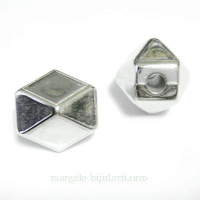 Margele plastic, placate argintiu( CCB), hexagonale, 21x21x21mm 1 buc