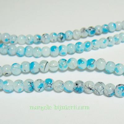 Margele sticla albe vopsite cu pete bleu, 4mm 10 buc
