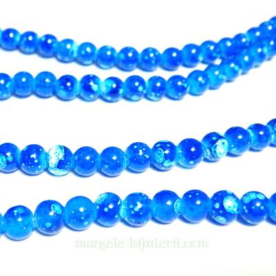 Margele sticla albastra, galactic, 4mm 10 buc
