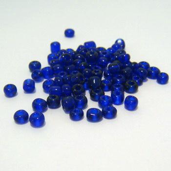 Margele nisip, albastru-cobalt, transparente, 4mm 20 g
