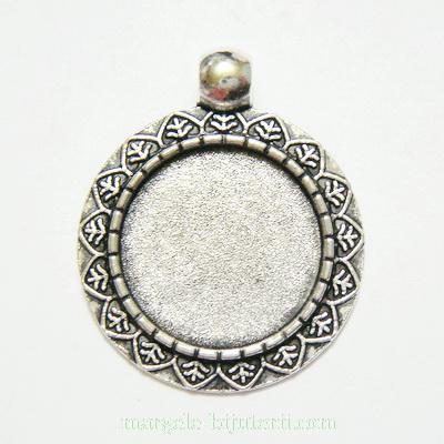 Baza cabochon, argint tibetan, pandantiv 31x26mm, interior 18mm 1 buc