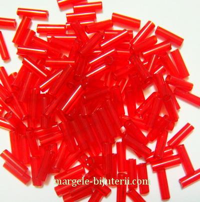 Margele tubulare, sticla Cehia, rosii, transparente, 7mm 20 g