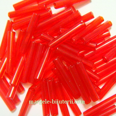 Margele tubulare, sticla Cehia, rosii, transparente, 12mm 20 g