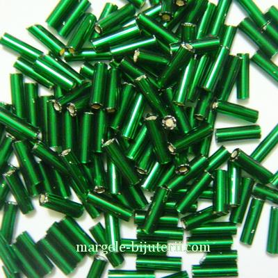 Margele tubulare, sticla Cehia, verzi cu interior argintiu, 7mm 20 g