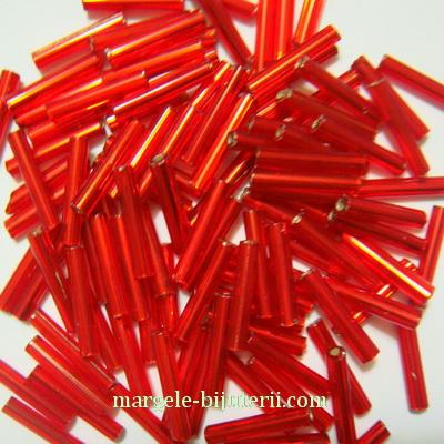 Margele tubulare, sticla Cehia, rosii cu interior argintiu, 12mm 20 g
