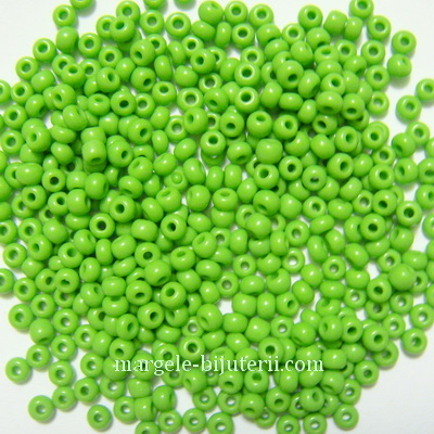 Margele nisip, sticla Cehia, verde-galbui, 2x2.7mm 20 g