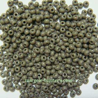Margele nisip, sticla Cehia, gri, 2x2.7mm 20 g