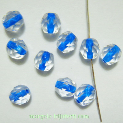 Margele sticla Cehia, multifete, transparente cu interior albastru, 6mm 10 buc