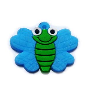 Pandantiv cauciuc, fluturas albastru, 29x22mm 1 buc