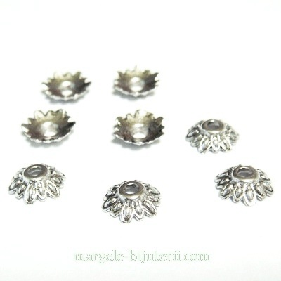 Capacel argint tibetan, floare 8x2.5mm 1 buc