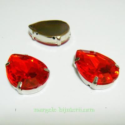 Margele montee rhinestone, plastic, rosii, lacrima 25x18x6.5mm 1 buc