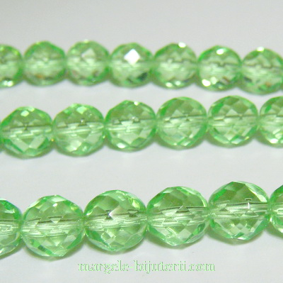 Margele sticla Cehia, fire polish, multifete, verde deschis, 8mm 1 buc