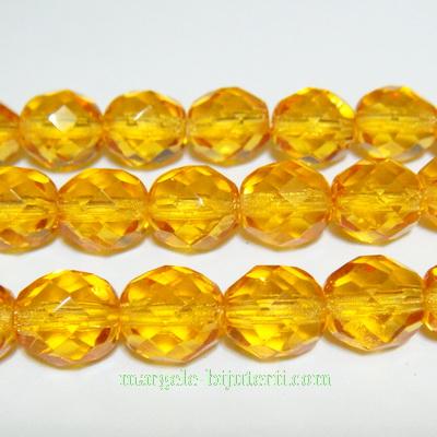 Margele sticla Cehia, fire polish, multifete, portocalii, 8mm 1 buc