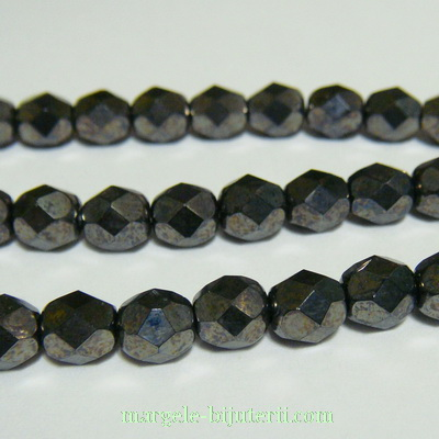 Margele sticla Cehia, fire polish, multifete, negre-hematit, 6mm 1 buc