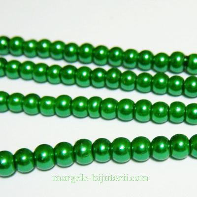 Perle sticla verzi, 4mm 10 buc