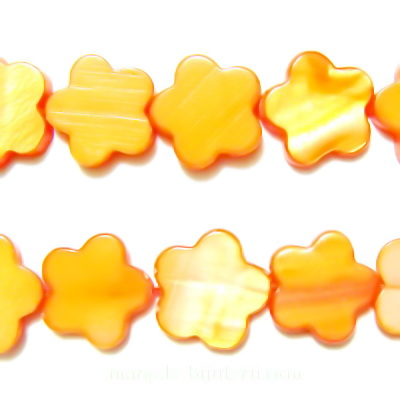 Flori sidef, portocalii, 13x3mm 1 buc