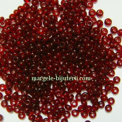 Margele nisip, Rocaille Preciosa 11/0-2mm, bordo, transparente 20 g