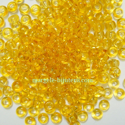 Margele nisip, Rocaille Preciosa 8/0-3mm, aurii, transparente 20 g