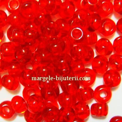 Margele nisip, Rocaille Preciosa 6/0-4mm, rosii, transparente 20 g
