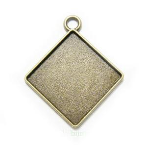 Baza cabochon, bronz antic, pandantiv, rombic, 27x23x2mm, interior 15x15 mm 1 buc