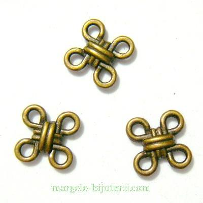 Conector/ link bronz, patrat cu 4 bucle, 10x10x3mm 1 buc