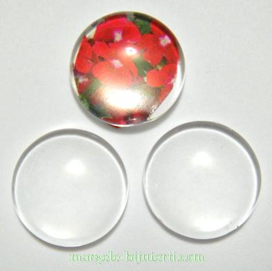 Cabochon sticla transparenta, 30x7.5~8.5mm 1 buc