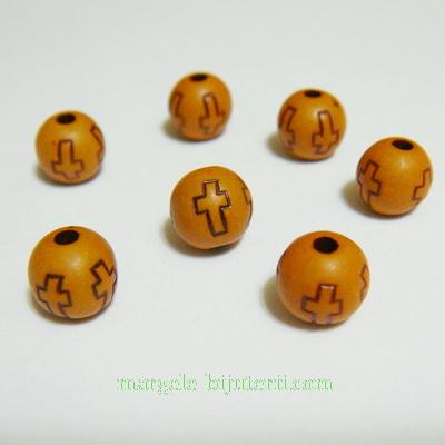 Margele plastic, imitatie lemn, cu cruciulite, maro, 10mm 10 buc