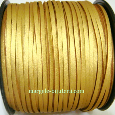 Snur faux suede, auriu, grosime 3x1.5mm 1 m