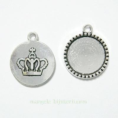 Baza cabochon, argint tibetan, pandantiv, cu coronita, 26x22mm, interior 18mm 1 buc
