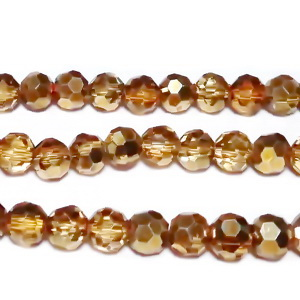 Margele sticla, multifete, auriu roscat, electroplacate, 4mm 10 buc