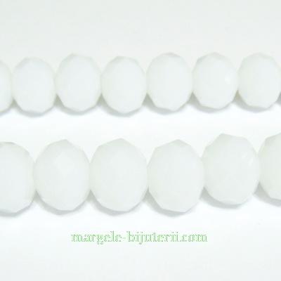 Margele sticla, albe, rondel, 10x8mm 1 buc