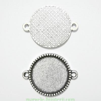 Conector / link cabochon, tibetan, 27x21mm, interior: 18mm 1 buc