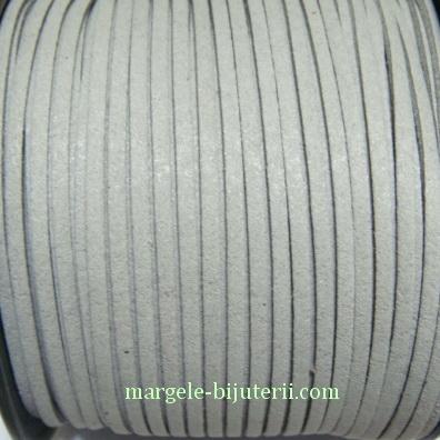 Snur faux suede, gri, grosime 3x1.5mm 1 m