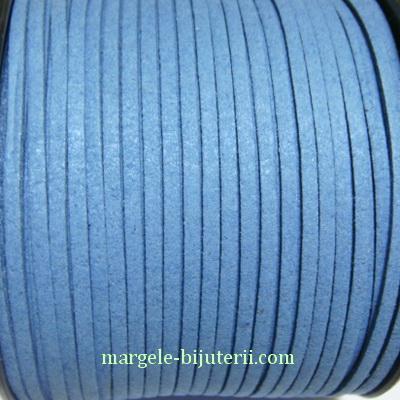 Snur faux suede, albastru, grosime 3x1.5mm 1 m
