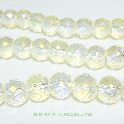 Margele sticla, electroplacate, multifete, galbene, AB, 10x8mm 1 buc