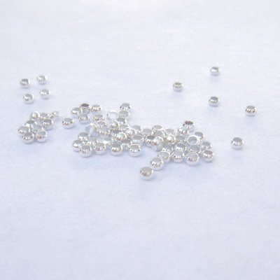 Margele metalice, argintii, 2mm 100 buc
