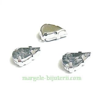 Margele montee rhinestone, plastic, gri, lacrima 10x6x5mm 1 buc