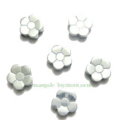 Flori hematite placate argintiu, 8x3mm 1 buc