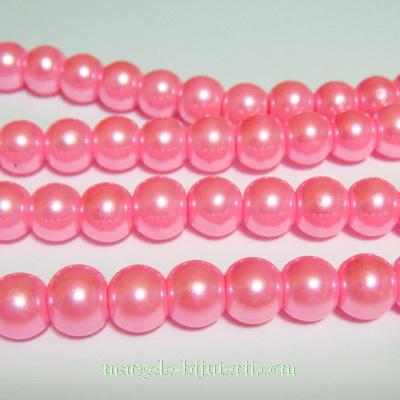 Perle sticla roz intens, 8mm 10 buc