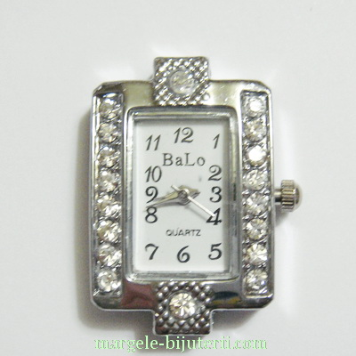 Ceas argintiu, cu strasuri, 30x20x8mm 1 buc