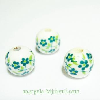 Margele portelan, albe, pictate cu flori verzi, 10mm 1 buc